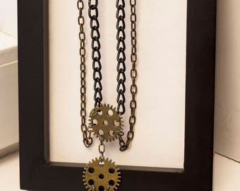 Long Steampunk Gear and Chain Necklace