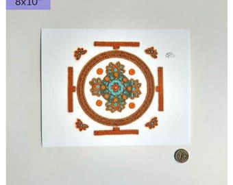 Mandala Embroidery Art Print, Mandala Wall Art, Healing Mandala Print, Sacral and Throat Chakra Mandala Art Print, Chakra Mandala Art Print