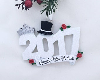 2017 Wedding Personalized Christmas Ornament / 2017 Wedding Ornament / Personalized Ornament / 2017 Married Ornament