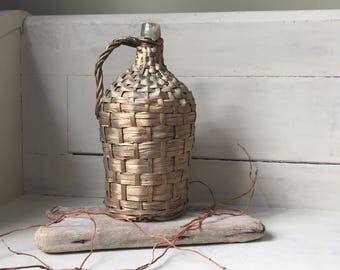 Wicker Wrapped Bottle | Vintage Wine Bottle | Rustic Demijohn Bottle | French Country | Farmhouse Decor | Glass and Wicker Bottle