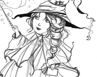 witch wimsical cute magic coloring page digistamp coloring witch
