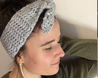 XL Soft grey crochet headband ear warmer