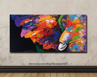 60 x 120 cm, Colorful Elephant Painting ,wall decor painting