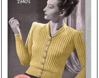 07abd5851596e2 1940s Sideways Sweater Vintage Knitting Pattern PDF KNITTING