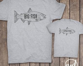 Dad and Baby Matching Shirts, Matching Dad and Baby Shirts, Big Fish Little Fish, Fish Outfit, Dad Son Shirts, Fishing Shirt