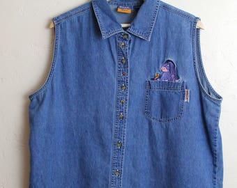 90s Vintage Eeyore Sleeveless Denim Button Up Embroidered Vintage Winnie the Pooh Vintage Disney Womans Size L-XL
