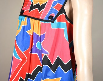 Vintage BILL TICE 80's graphic quilted shift trapeze sun dress