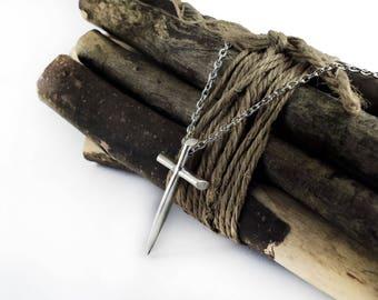 Cross Necklace, Large Silver Tone Christian Cross Pendant Necklace, Sword Cross, Religious Cross Jewelry