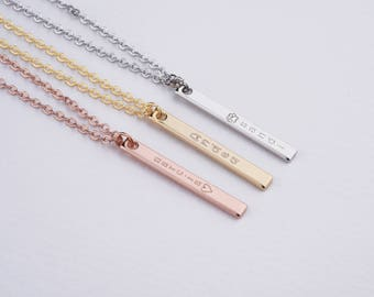 Personalized Bar Necklace, Vertical Bar Necklace, bridesmaid necklace, personalized necklace, bar necklace, bridesmaid gift, custom necklace