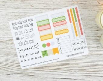 Hobonichi Weekly Planner Stickers; Summer Kit; Weekly Sticker Kit; Hobonichi Techo Cousin Sticker