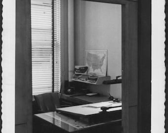 Vintage Photo of An Architects Desk, 1950's Original Found Photo, Vernacular Photography
