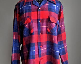 Vintage 50s Town & Country Wool Plaid Shirt - Guiterman Bros Heritage Hunting Flannel Shirt Jacket - Made in USA