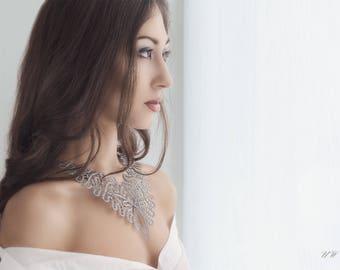 Baroque | Statement Lace Necklace | Handmade Idrija Bobbin Lace Jewelry | FREE SHIPPING