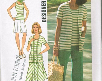 Simplicity 7523 Misses uUnlined Cardigan, Pullover Top, Bias Skirt, Pants and Shorts SIZE 12