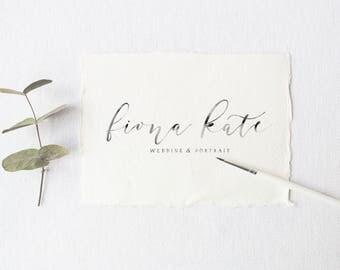premade logo design · watercolor calligraphy · hand lettered logo · custom watercolor logo · photography logo · elegant logo · wedding logo