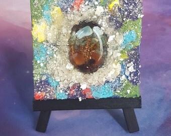 Handcrafted reiki infused energetic art canvas with quartz crystal, garnet, carnelian, citrine, Green aventurine mica sparkle on art easel