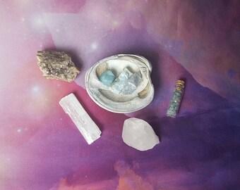 Reiki infused crystal seashell bundle with celestite, aqua aura quartz, raw larimar, aquamarine, selenite, hand mined quartz cluster