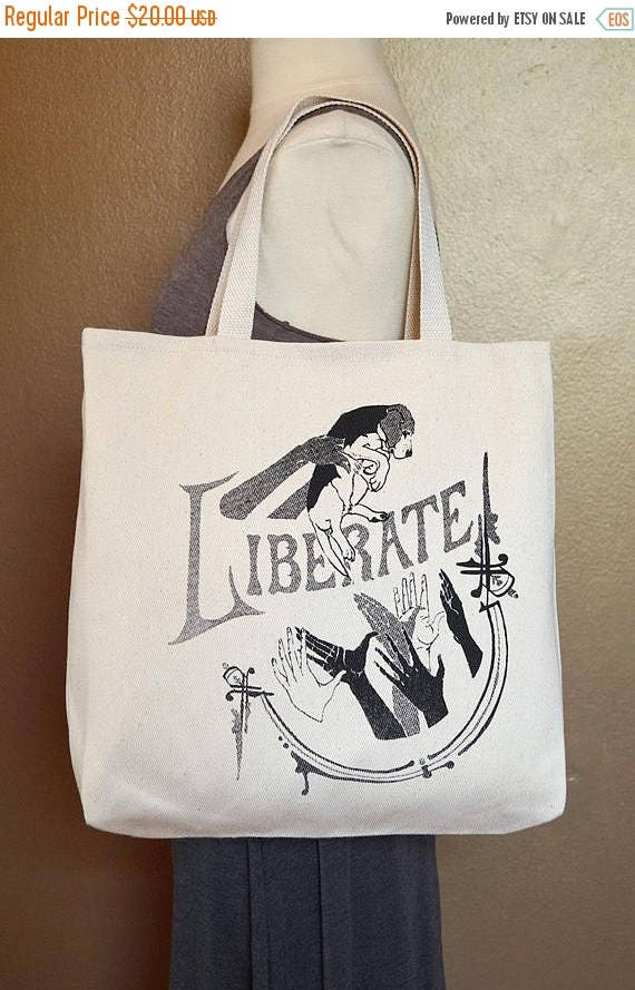 """ON SALE Tote Bag """"Liberate"""" Black Ink on Natural Cotton"""