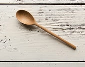 Wooden cooking, baking, and serving spoon handmade in cherry deep oval bowl and long handle beautiful grain