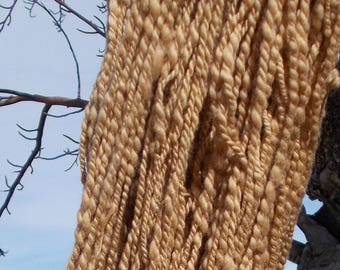Handspun cotton, naturally colored (no dyes)  Pima cotton, 234 yds, 2-ply