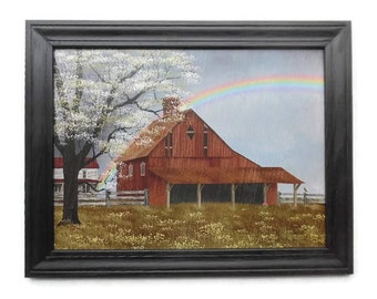 Rainbow and Barn, 'His Promise', Billy Jacobs Print, Primitive Decor, Country Art, Wall Art,  Handmade, 28x22 Custom Wood Frame, Made in USA