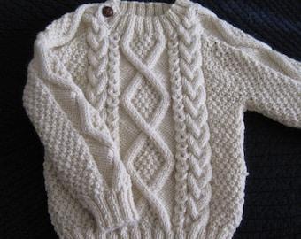 Irish Aran 100% Wool Toddler Sweater Design A