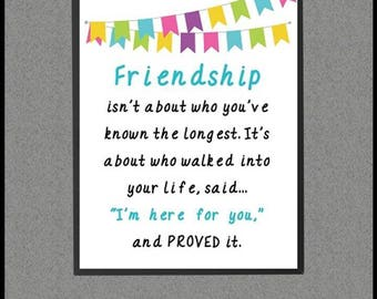 Friendship Gift, Friend Gift Best Long Distance, Moving Away, Friendship Quotes, Sayings, Best Friend Gift Ideas, Wall Art Decor Print