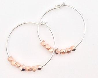 Mixed Metal Earrings Blush Earrings Swarovski Silver Earrings Bridesmaid Earrings Rose Gold Silver Earrings Beaded Hoop Earrings Silver Hoop