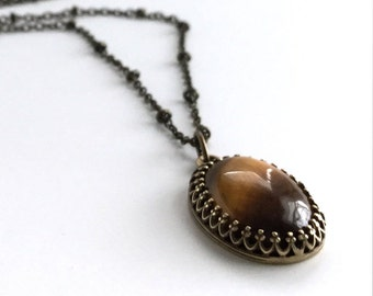 Tiger's Eye Necklace, Oval Natural Stone Pendant, Long Thin Antique Brass Chain, Golden Brown Natural Stones, Brown Gemstone Jewelry