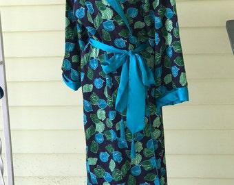 Victorias Secret Wrap Robe/Turquoise & Green on Navy Satin/Full Length/Tassel tie belt/Dressing Gown/Gold Label/1980s/Kimono/Medium Large