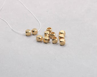 6mm 30Pcs Raw Brass Cube Beads , Hole Size 4mm , GY-X885