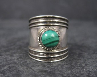 Wide Vintage Sterling Malachite Ring Size 5