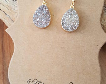 Champage Druzy Drop Gold Filled Earrings / Druzy Earrings / Gold Druzy Earrings / Teardrop Earrings / Pear Earrings / Boho / Stone Earrings