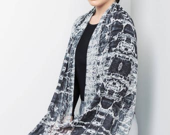Monochrome scarf, Black and white scarf, Long scarf, Texture scarf, printed scarf, Abstract scarf, Wearable art, Artistic scarf wrap, Silky