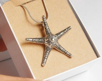 Starfish Pendant Necklace, Silver Starfish Necklace, Silver Starfish Pendant, Starfish Charm Necklace, Beach Theme Necklace