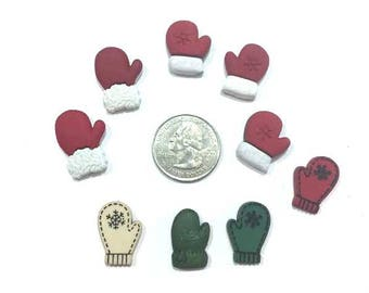 Lost Winter Mittens Collection Assorted Embellishments Set of 9 Scrapbook Flat Back - 601