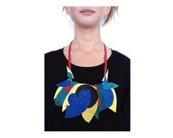Leather Necklace / Leather jewelry / Colorful Necklace / Bib necklace / Reused Leather Necklace / Multicolor Necklace / Leaf necklace