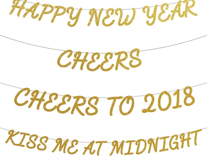 New Years Eve Banners, Happy New Year Banner, Cheers Banner, Cheers to 2018, Kiss me at midnight banner, New Years Eve Party Decor