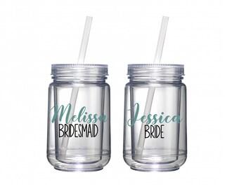 Bridesmaid Gift, Bridesmaid Mason Jars, Wedding Party Favors, Personalized Bridesmaid Mason Jars, Bride and Bridesmaid, Mason Jars Bulk