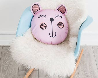 Nursery Decor, Large Throw Cushion, Bedroom Decor, Pink Nursery Decor, Round Throw Pillow, Animal Cushion, Decorative Cushion