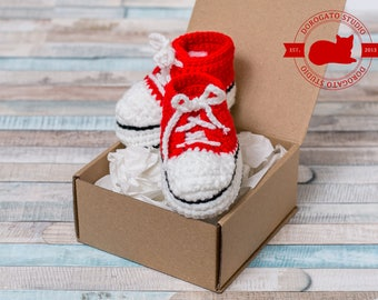 Red Baby Sneakers, Crochet Baby Shoes, Sneakers Shoes, Handmade Baby Boots, Crib Shoes, Baby Shower Gift