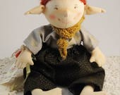 Bean-bag Playable Fabric Elf Doll / Handmade Soft Author Doll / Embroidered details / For Girls