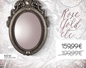 Silver Ornate Baroque Mirror, Vintage Silver Framed Mirror, Baroque Style Picture Frame, Vintage Oval Mirror Frame, Mirror Frame 2 in 1