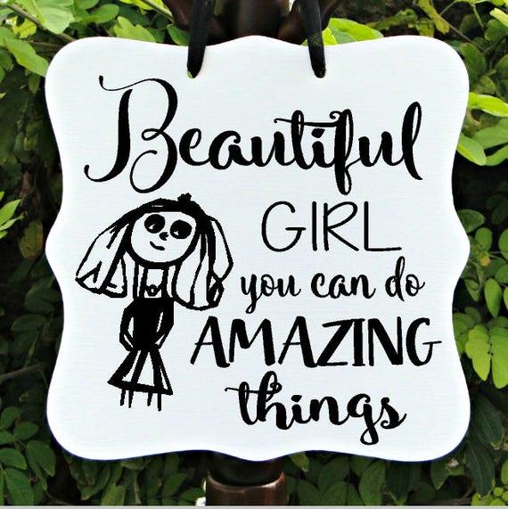 Beautiful Girl Sign, Home Decor, Girl Bedroom Sign, Door Sign, Kid Sign, Inspirational Sign, Girl Sign, Amazing Things, Door Hanger, Quote
