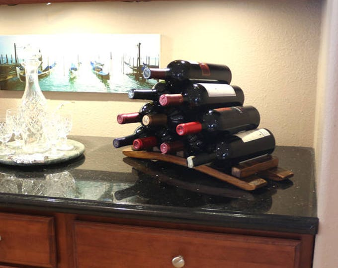 Countertop Wood Wine Rack Bottle Holder Storage Countertop Shelf Liquor