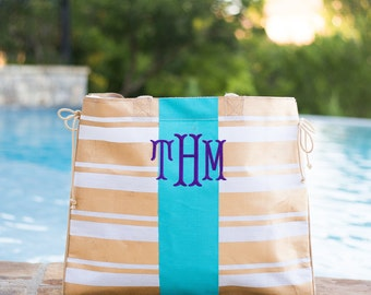Monogrammed Beach Bag | Jute Tote Bag | Monogrammed Pool Bag | Monogrammed Tote | Gift for Her | Bridesmaid Gift | Gold Striped Tote