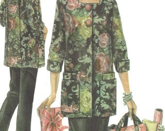 Simplicity 4746 Sewing Pattern Misses Hobby Coat Pants and Bag Patty Reed Designs sz XS-M Uncut