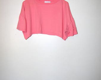 80's PINK CROP TOP t-shirt by lord and taylors size large