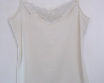Vintage Marks and Spencer Cream Polyester & Lace Camisole Top UK Size 14/16 / UK Size 10/12