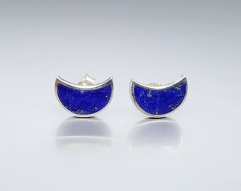 Lapis Lazuli moon stud earrings - inlay work Sterling silver - gift idea Christmas - blue and silver - natural high quality stone